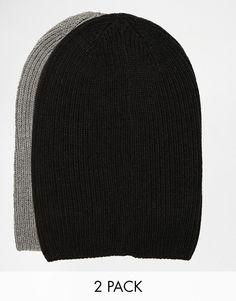 Lot de bonnets par ASOS Fabriqué en maille côtelée Modèle souple Lot de deux Lavage en machine 100% acrylique