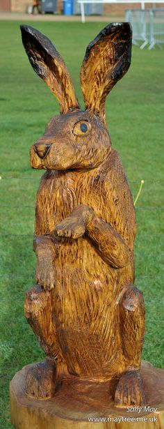 Standing Hare chainsaw carving by Sally May