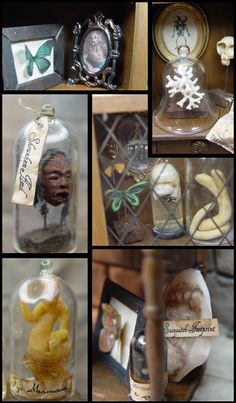 """Miniature """"wunderkammer"""", or """"cabinet of curosities."""" - cool ideas for a wizard's cabinet. Haunted Dollhouse, Haunted Dolls, Dollhouse Miniatures, Diorama, Harry Potter Miniatures, Steampunk Dolls, Halloween Miniatures, Halloween Village, Doll Display"""