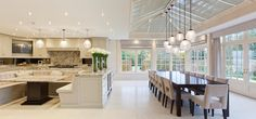 Interior of a open planned kitchen conservatory perfect for a busy family life
