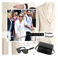 """Get the Look : Kristen Stewart"" by smartbuyglasses-uk ❤ liked on Polyvore featuring MaxMara, Kate Spade, Michael Kors, Ray-Ban, Proenza Schouler, sunglasses, rayban, kristenstewart, wayfarer and whitesuit"