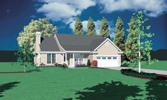 Traditional Ranch Home Plan - 69014AM | Cottage, Country, Narrow Lot, 1st Floor Master Suite, CAD Available, Den-Office-Library-Study, PDF | Architectural Designs