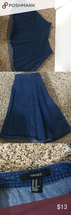 Denim circle skirt from Forever 21 Denim circle skirt from Forever 21! Forever 21 Skirts Circle & Skater