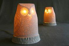 {ceramic lit owls} by coe
