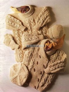 PDF Digital Delivery Vintage Row by Row Row by Row Knitting Pattern A Baby Toddlers Aran Jacket Long Sweater Mittens Beret Hat Chest 24-30 Aran yarn