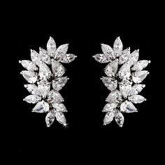 Gorgeoud Cubic Zirconia (CZ) Clip On or Pierced Bridal Formal Earrings - Affordable Elegance Bridal -