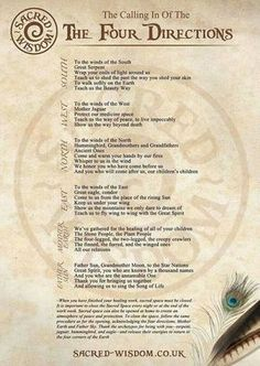 This is the Native American calling of the Four Directions, which is a ritual involving praying to the four directions, or to the spirits of the world, to life and the Great Spirit. The Medicine Wheel is a symbol that represents the four directions. Wiccan Spell Book, Witch Spell, Spell Books, Pagan Witch, Magick Spells, Wicca Witchcraft, Wicca Runes, Summoning Spells, Wiccan Rede