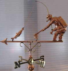 Full bodied copper weathervane complete with directionals and mounting bracket. This beautiful weathervane will top off your fishing cabin or lake house. Weather Vain, Fishing Umbrella, Blowin' In The Wind, Gone Fishing, Fishing Life, Fishing Rods, Lightning Rod, Wind Spinners, Vintage Fishing