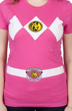 Ladies Pink Power Ranger Costume T-Shirt: Mighty Morphin Power Rangers