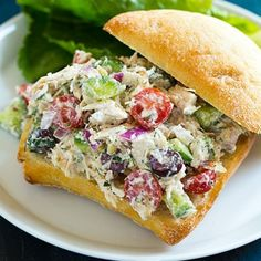 Greek Chicken Salad Sandwiches by Cooking Classy Who knows why I haven't thought of this until now but tzatziki makes the perfect (and healthy) dressing for a chicken salad. Ever since my sister… Greek Chicken Salad, Greek Salad, Yogurt Chicken, Dill Chicken, Chicken Salads, Healthy Chicken, Clean Eating, Healthy Eating, Healthy Food