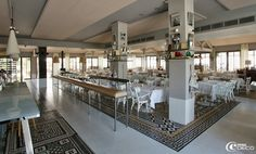Carocim.  A compostion of Carocim tiles created by Philippe Starck at La Co(o)rniche Hotel, Arcachon in France.