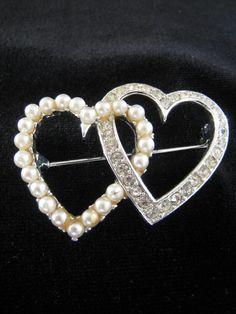Double Heart Brooch