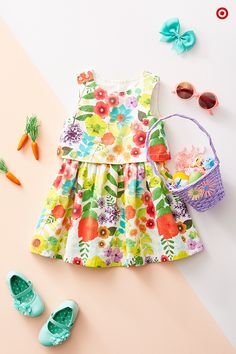 Easter's coming, and so is your baby girly girl's first egg hunt. She'll look adorable and sweet as can be in this floral dress by Cherokee. Add a pair of Mary Janes that are dressy enough for church or the family party. Finally, find a pretty matching basket that's just her size. Then, let the fun begin!