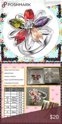 Sterling Silver plated Rhinestone Flower ring Brand new in box very beautiful multi color rhinestone Jewelry Rings