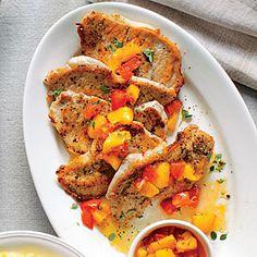 Pork Grillades with Pepper Jelly-Peach Sauce | MyRecipes.com