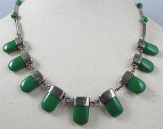 Vtg Art Deco Jakob Bengel Chrome Green Galalith Dangle Necklace   eBay