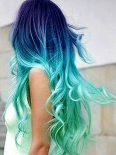 I love shaded colored hair This starts out dark blue then to turquoise. Fabulouse