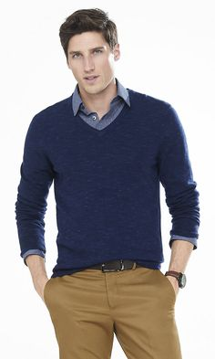 Marled Merino Wool V-neck Sweater | Express