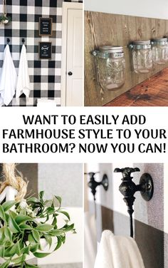 Want To Easily Add Farmhouse Style To Your Bathroom? — She Gave It A Go Want to easily add farmhouse style to your bathroom? Small Bathroom Diy, Affordable Home Decor, Vintage Bathroom Decor, Bathroom Styling, Vintage House, Wooden Facade, Farmhouse Style, Rustic Storage, Bathroom Farmhouse Style