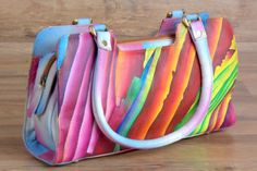 ZINT-Women-039-s-Handbag-Genuine-Leather-Hand-Painted-Abstract-Art-Colorful-Purse