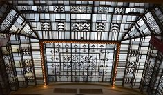 Art Deco style : Auguste Martin, The Nouvelles Galeries' grand glass roof, Angers. Grand Bazar, Grand Hall, Art Deco Stil, Architectural Antiques, Galeries Lafayette, Glass Roof, Black And White Portraits, Inspiration Wall, Negative Space