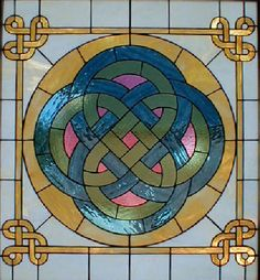 Storyteller Celtic Design Stained Glass Window