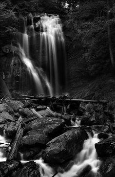 Anna Ruby Falls Right Side near Helen, Georgia. Taken on black and white film.