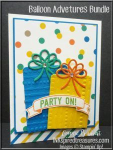 The theme this week for the Create with Connie and Mary Saturday Blog Hop is Birthday Celebrations! I JUST got my Balloon Adventures stamp set and Balloon Pop-Up Thinlets in my order, so had to tr…