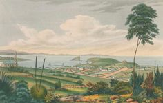 Joseph Lycett 'Newcastle, New South Wales' hand-coloured etching/acquatint, Purchased Newcastle Art Gallery collection First Fleet, Social Science Research, Early Explorers, Colonial Art, Botany Bay, Aboriginal People, Newcastle Nsw, Historical Pictures, Hand Coloring