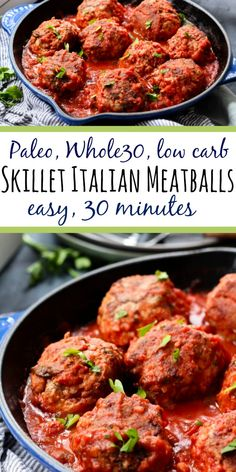 Hypoallergenic Pet Dog Food Items Diet Program These Skillet Meatballs Are Cooked Up In One Pan On The Stovetop With The Marinara, No Oven Needed It's A Quick And Easy Weeknight Dinner Or Meal Prep Recipe That Covers All Your Dietary Bases, Paleo Menu, Healthy Dinner Recipes, Real Food Recipes, Paleo Food, Eating Paleo, Clean Eating, Diet Menu, Veggie Food, Keto Meal