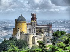 Pena Palace in Sintra, Portugal, is one of The Top 10 Marvels of the Modern World Sintra Portugal, Visit Portugal, Spain And Portugal, Portugal Travel, Places Around The World, The Places Youll Go, Places To See, Photo Portugal, Pena Palace
