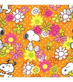 Peanuts Floral Scrubs Cotton Fabric