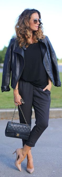 By Benedicthe Polka Dot Pants Fall Outfit Idea by Stylista