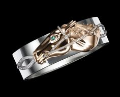 Ralph Lauren: rose gold horse head bracelet with diamonds and emerald eye on an white gold cuff Equestrian Chic, Equestrian Jewelry, Horse Jewelry, Western Jewelry, Ralph Lauren, Modern Jewelry, Fine Jewelry, Jewelry Box, Unique Jewelry