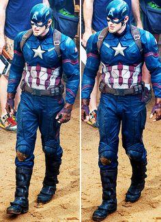 "Chris Evans on the set of ""Captain America: Civil War"" in Atlanta."