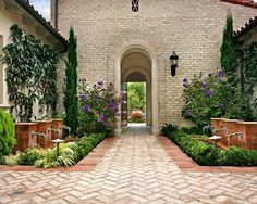 Tuscan Villa | Center Courtyard | Curb Appeal | Driveway Ideas | Landscape Design | Brick Pavers