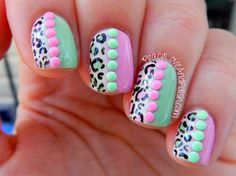 pink mint leopard neon stud nails by BornPrettyNails - Nail Art Gallery nailartgallery.nailsmag.com by Nails Magazine www.nailsmag.com #nailart