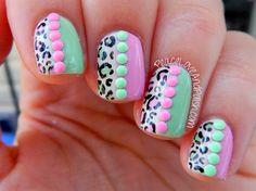 pink mint leopard neon stud nails by BornPrettyNails - Nail Art Gallery nailartgallery.nailsmag.com by Nails Magazine www.nailsmag.com #nailart