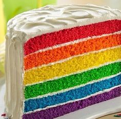 Layer Cake Rainbow Layer Cake Recipe from Betty Crocker and other great recipes!Rainbow Layer Cake Recipe from Betty Crocker and other great recipes! Cupcakes, Cupcake Cakes, Food Cakes, Layer Cake Recipes, Dessert Recipes, Bolos Tie Dye, Rainbow Layer Cakes, Cake Rainbow, Rainbow Dash