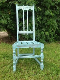 Chair painted with Beach Glass, Freedom Road and a wash of Navajo White by Dutchie M. Design in Alberta
