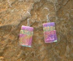 Pink Dichroic Glass Earrings Fused Glass Earrings Pink by GlassCat, $20.00