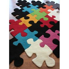 nuLOOM Kinder Puzzle Pieces Multi Colored Kids Rug