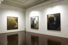 """Saatchi Art Artist Maria Teresa Crawford Cabral; Painting, """"Exhibition at SINTRA MUSEU DE ARTE MODERNA (Sintra Museum of Modern Art) 13.11.2010 - 20.03.2011. Three  Pictures;  from the left to the right: """"Queda"""" #art"""