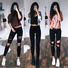 33 Casual Outfits with Skinny Jeans to Rock the Streets - Outfit Styles Teenage Outfits, Teen Fashion Outfits, Edgy Outfits, Cute Casual Outfits, Fall Outfits, Summer Outfits, Outfits With Black Jeans, Dress Fashion, Fashion Clothes