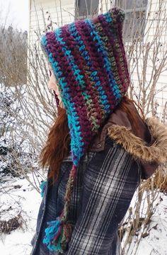 Liz wearing hood hat we crocheted in Mulberry yarn