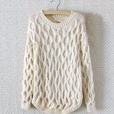 MEROKETTY®Women's Round Collar Solid Wavy Stripes Serratula Loose Pullover Sweater -