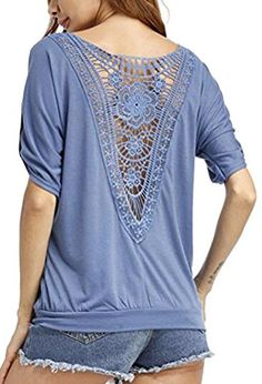 UGET Women Sexy Blouse Loose Round Neck Backless Hollow Lace TShirt Tops Plus Size Asia XL Blue -- Click for more Special Deals #KoreanFashion