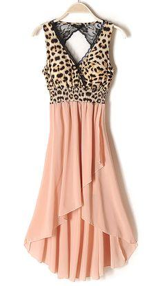 Cut Out Back Leopard High-low Dress - Sheinside.com