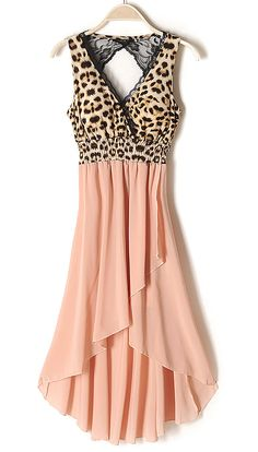 Pink V-neck Cut Out Back Leopard High-low Dress