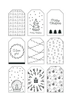 Christmas tags, Print it and add to make your presents unique! Diy Christmas Tags, Christmas Gift Tags Printable, Christmas Doodles, Christmas Drawing, Christmas Deco, Christmas Printables, Handmade Christmas, Christmas Crafts, Christmas Tags To Print